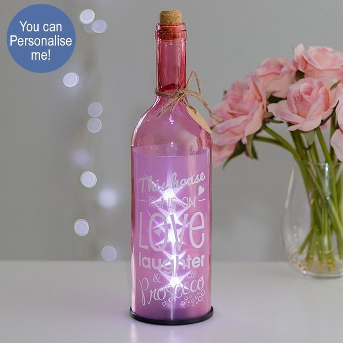 Cheap This House Runs on Prosecco Pink Light up LED Bottle - Only £2.99!