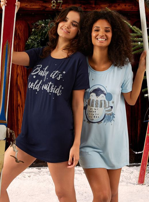 Penguin 2 Pack Sleep Tees - Blue Mix Only £8