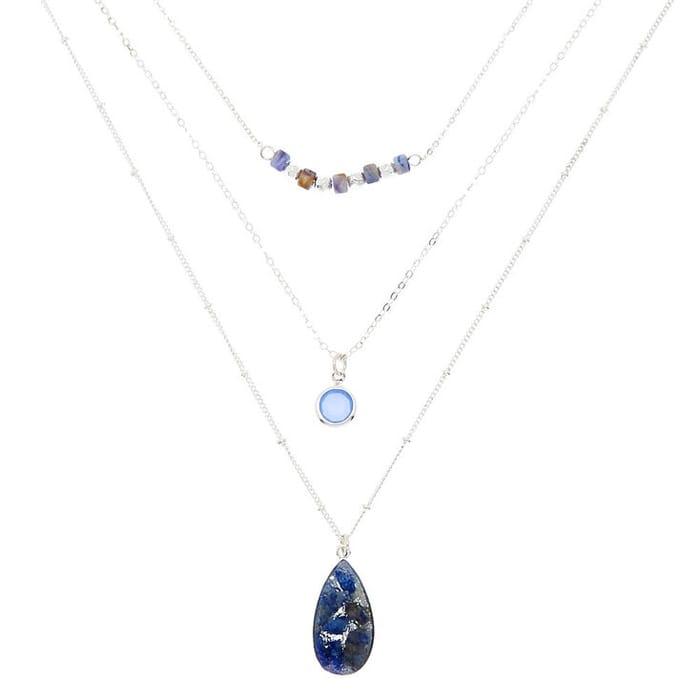 Silver Druzy Bead Multi Strand Necklace
