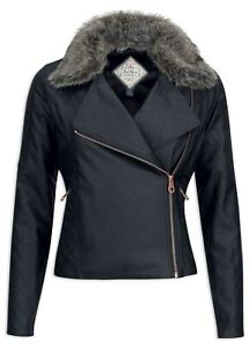 CHEAP! Jack Murphy Ladies Womens Sam Biker Style Faux Leather Jacket Black