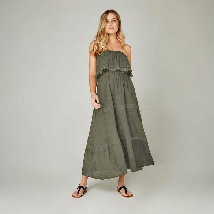 Khaki Lace Tier Maxi Dress at Apricot