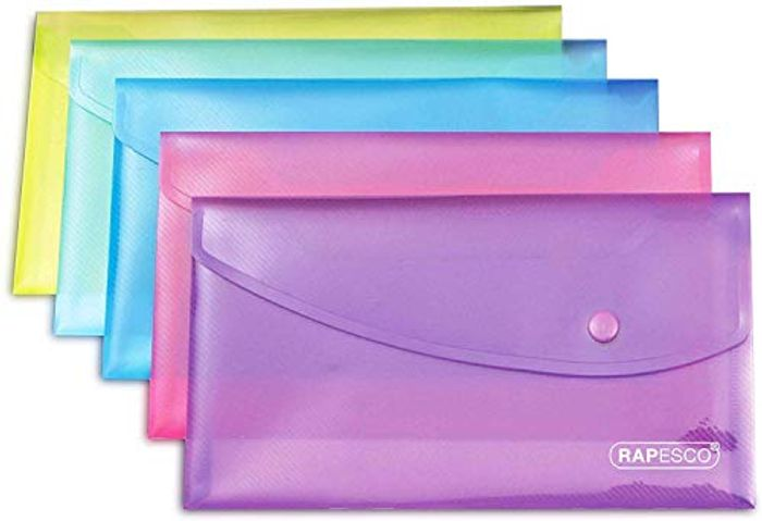 Bright Transparent Popper Wallet - Assorted Colours (Pack of 5)