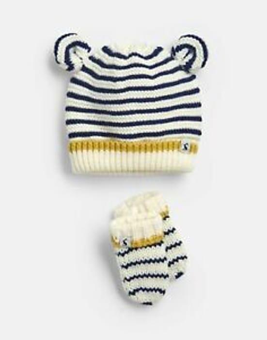 Best Price! Joules Baby Cute Hat and Mitten Set - CREAM NAVY STRIPE