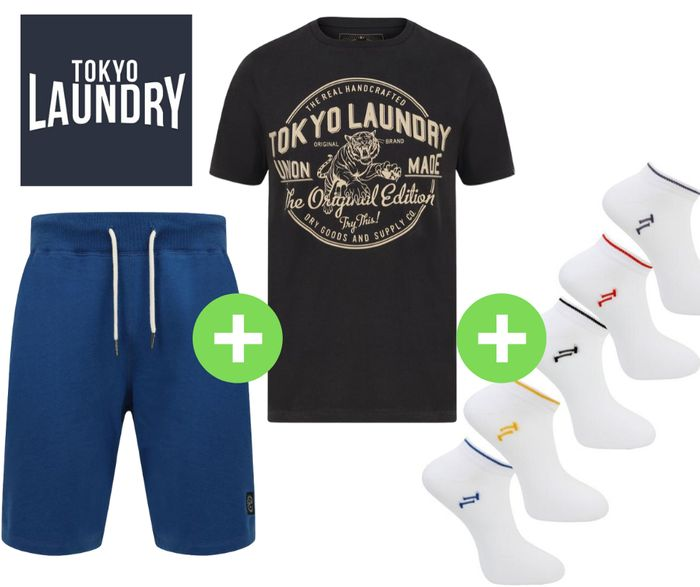 Tokyo Laundry Men's Jogger Shorts, T-Shirt & Socks Bundle £20