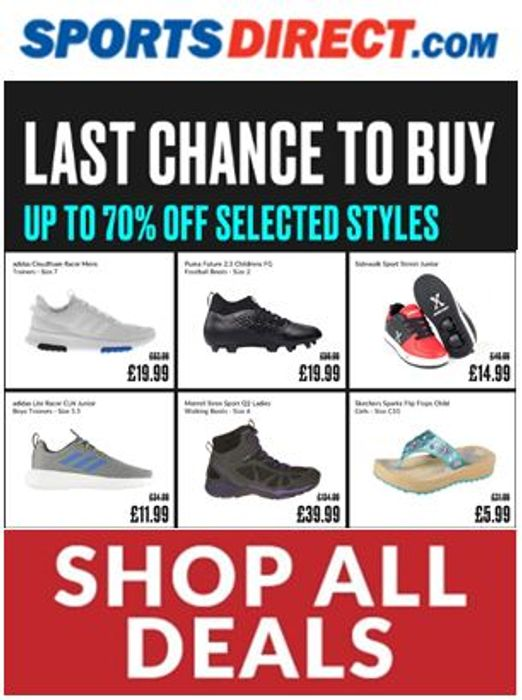 Sports Direct - FLASH SALE - up to 70% Off