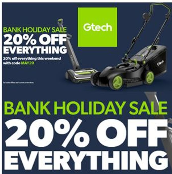 Gtech BANK HOLIDAY Sale - 20% off Everything + FREE DELIVERY