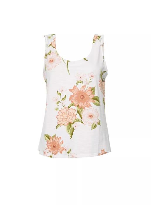 White Floral Print Tie Shoulder Vest