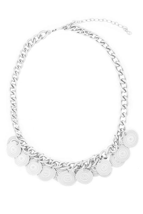 Cheap Silver Coin Statement Necklace - Only £2.5!