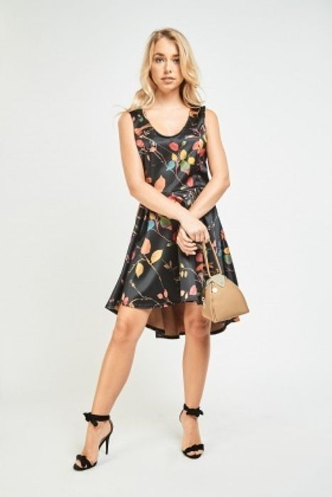 Vintage Print Hi-Lo Flared Dress
