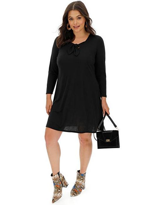 Black Knot Front Jersey Swing Dress - Save £12