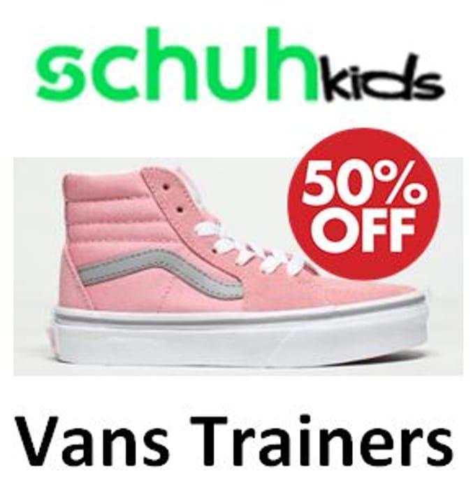 VANS Junior Trainers - HALF PRICE! at SCHUH KIDS + FREE DELIVERY