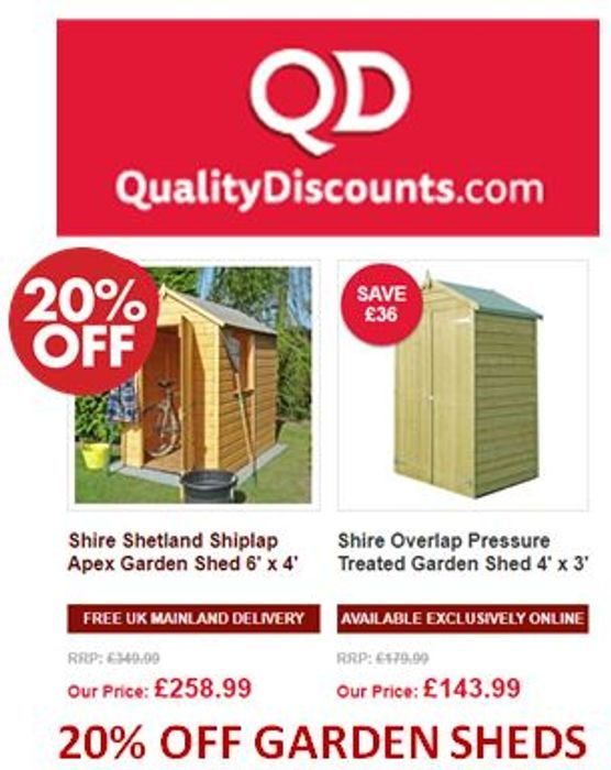 SALE! 20% OFF Garden Sheds at QD Stores