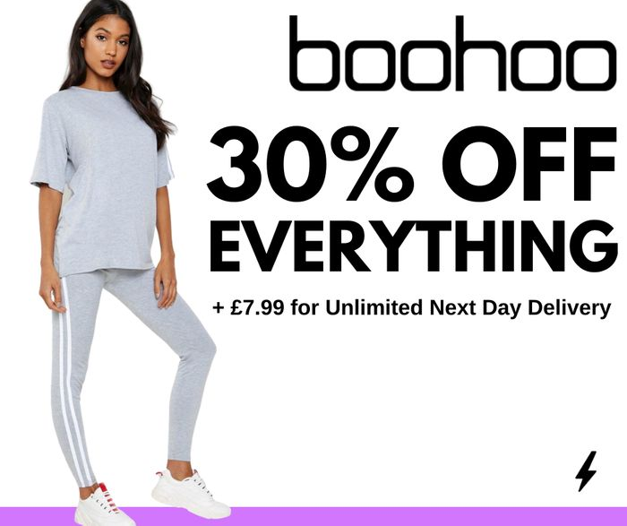 Boohoo: 30% Off EVERYTHING + 1 Year NDD for £7.99