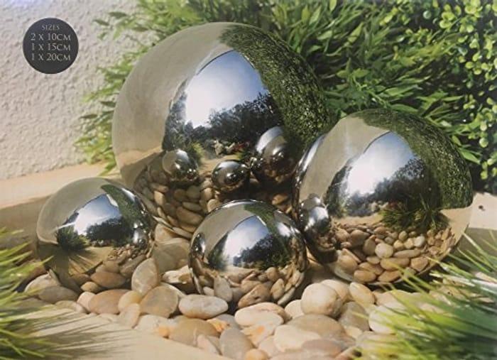 Stainless Steel 4pc Gazing Balls Garden Decoration
