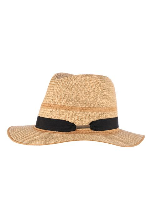 Womens Black Band Panama Hat