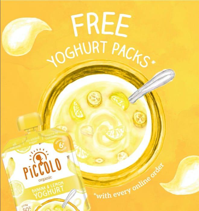 FREE 6 Pack of NEW Piccolo Organic Banana & Lemon Yoghurt with Every Order!*