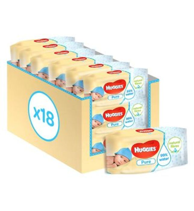 Huggies Pure Baby Wipes Multipack, 18x56 = 1008 Wipes BACK IN STOCK