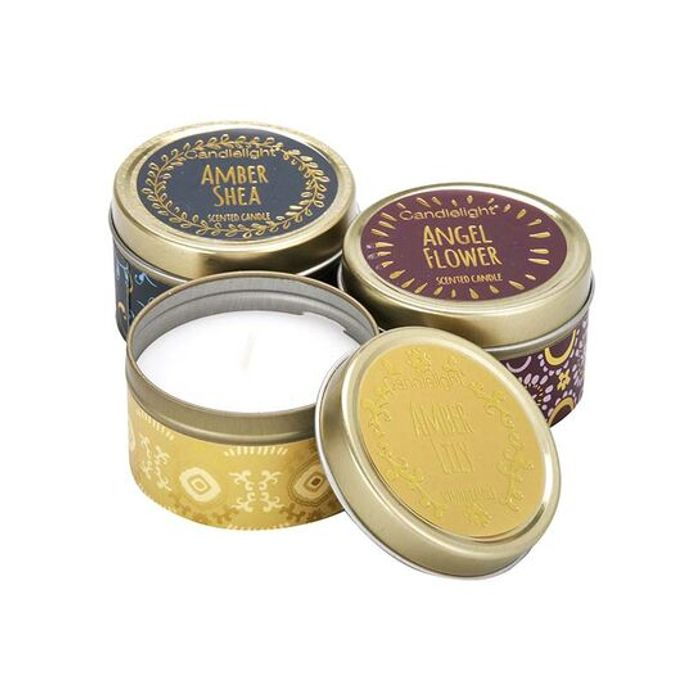 Candlelight Bohemian Small Tin Candles Set 60g