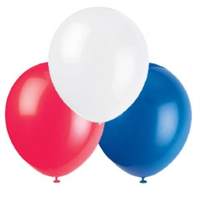 """15 X 12"""" Red, White & Blue Latex Balloons"""