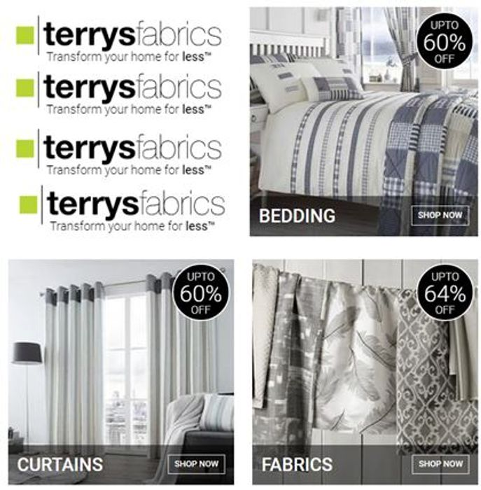 Special Offer - TERRY'S FABRICS - Curtains, Bedding - up to 64% Discount