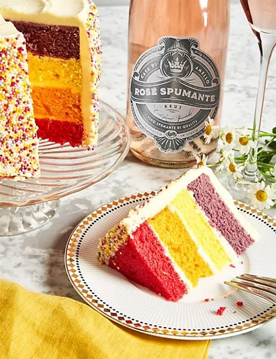Cheap Happy Birthday Rainbow Cake with Sparkling Rose Gift Set - Only £30!