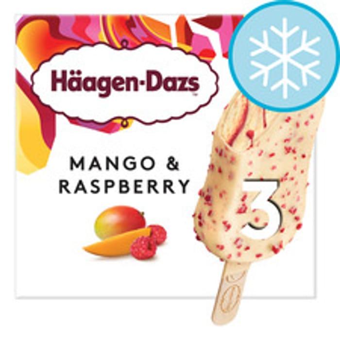 Haagen Dazs Mango & Raspberry Ice Cream Bar 3 X 80ml *HALF PRICE!