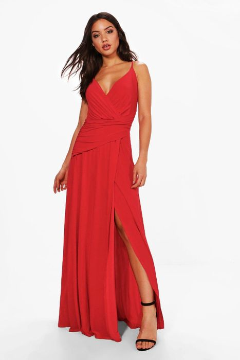 Slinky Wrap Ruched Strappy Maxi Bridesmaid Dress