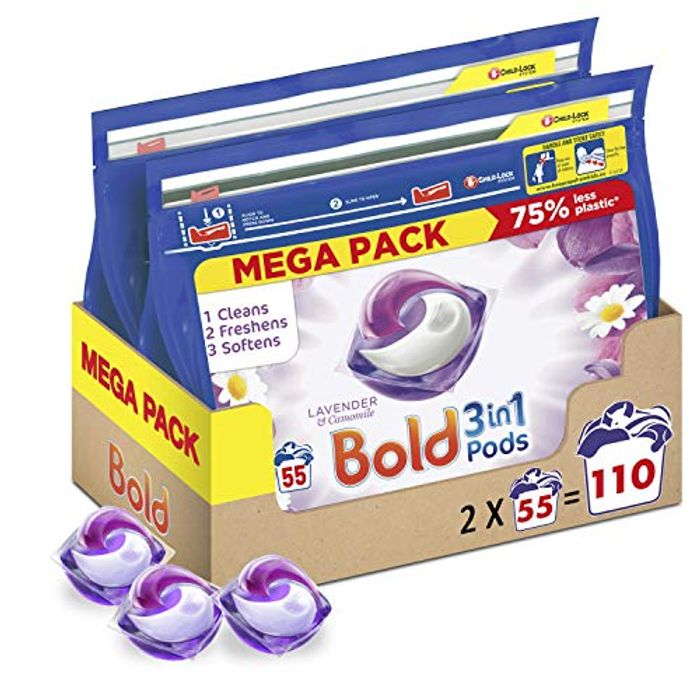 Bold 3-in-1 Pods Washing Liquid Detergent Capsules, 110 Launder Pods