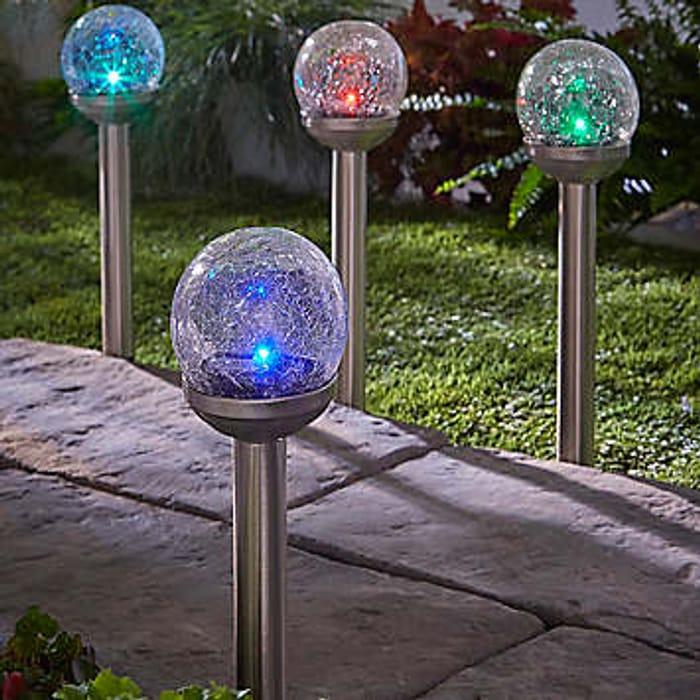 Pack of 4 Solar Powered Rainbow Crackle Globe Stake Light