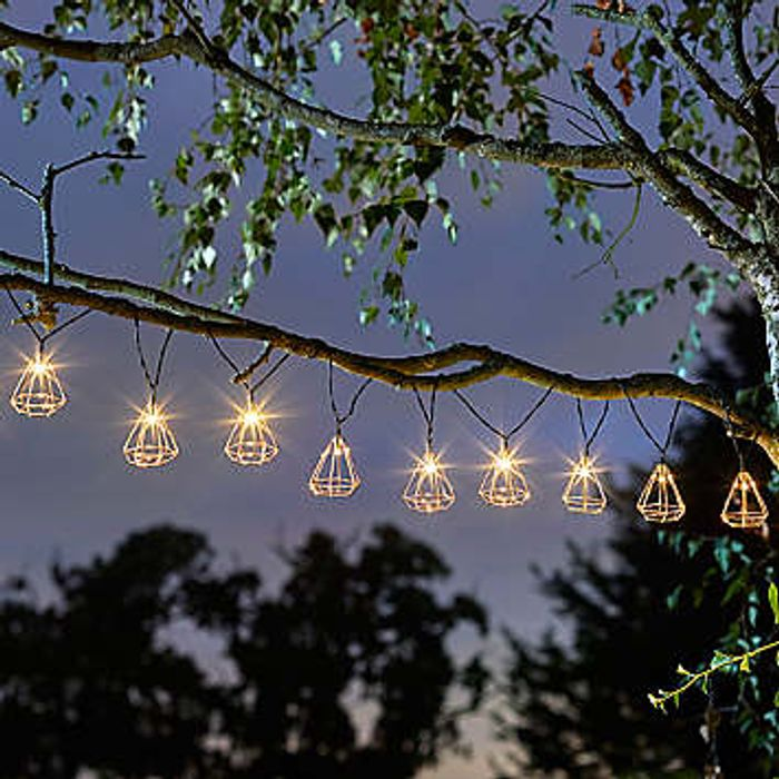 Geo Solar Powered LED String Lights - 10 Bulbs
