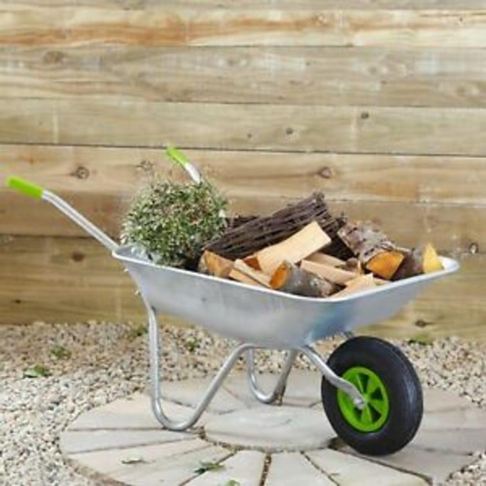 65l Wheelbarrow Home Garden Cart with Galvanised Pneumatic Tyre