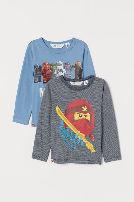 Boys 2-Pack Long-Sleeved Tops - Light blue/Ninjago Size 18-24M & 2-4Y