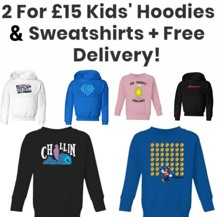 2 for £15 Kids' Hoodies & Sweatshirts + Free Delivery!