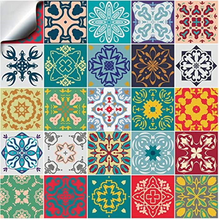 24pc Various Traditional Wall Tile Stickers at Amazon