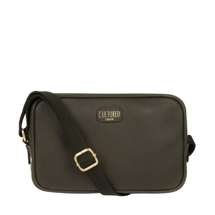 Cultured London - Olive 'Giulia' Leather Cross-Body Bag