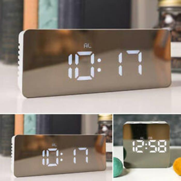 Mirror LED Alarm Clock Night Light Thermometer Digital Clock with USB Charging