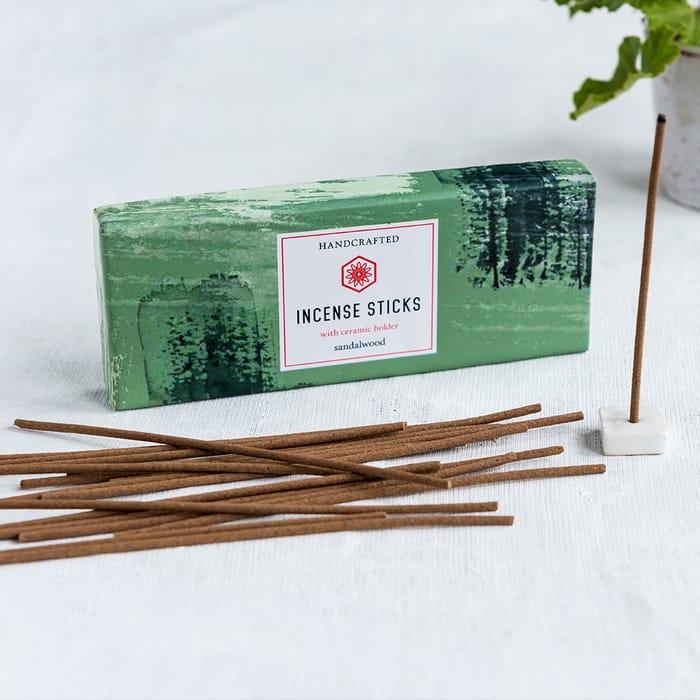 Best Price! Sandalwood Incense Sticks and Holder (50 Sticks)