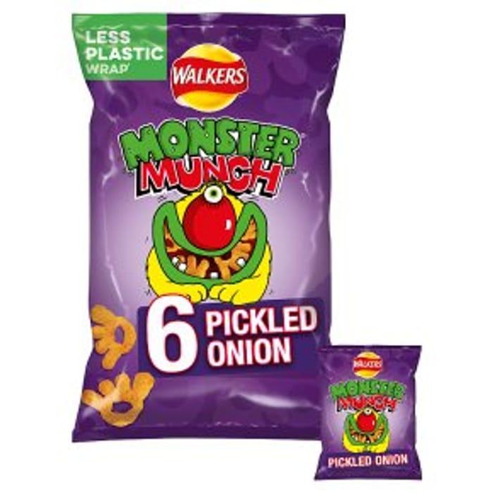 Walkers Mega Monster Munch Pickled Onion6x22g 3 for £4