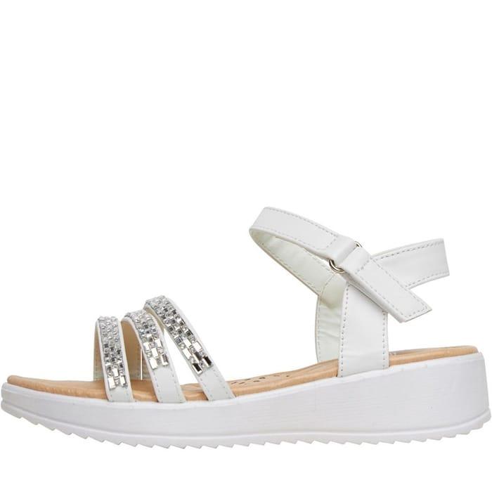 Board Angels Girls Strappy Diamante Sandals White