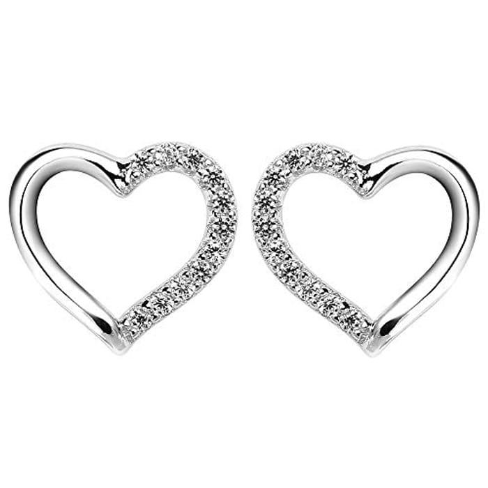 Best Price! Silver Heart Stud Earrings-925 Sterling Silver Studs