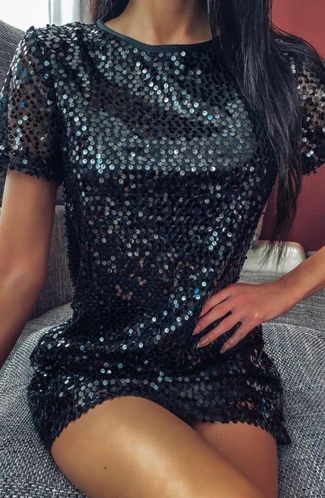 Black Sequin T Shirt Dress, Only £10.00!