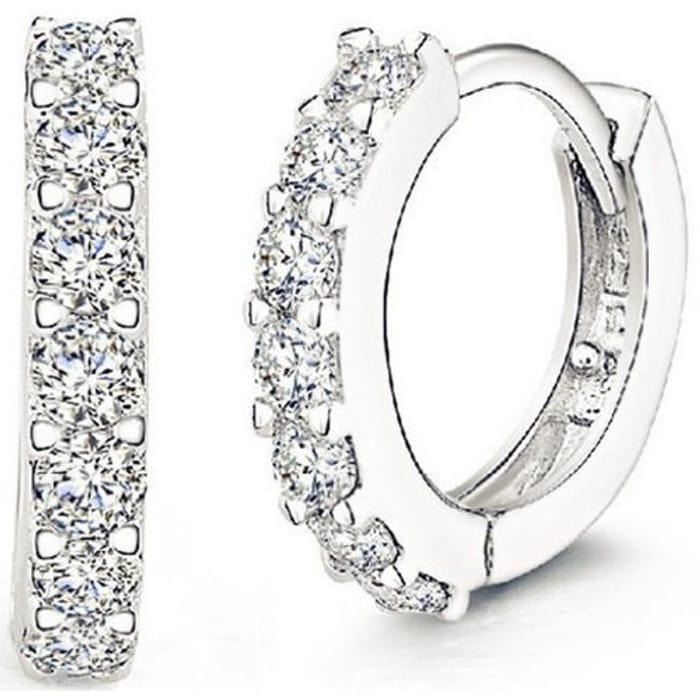 CHEAP! Jewellers 925 Sterling Silver Rhinestones Hoop Stud Earrings for Women