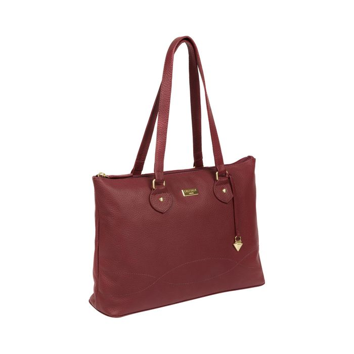 Cultured London - Ruby Red 'Idelle' Handmade Leather Tote Bag