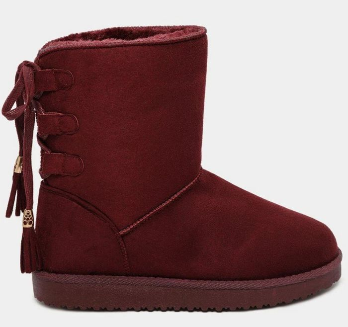 Lace up Back Faux Fur Lined Burgundy Warm Boots