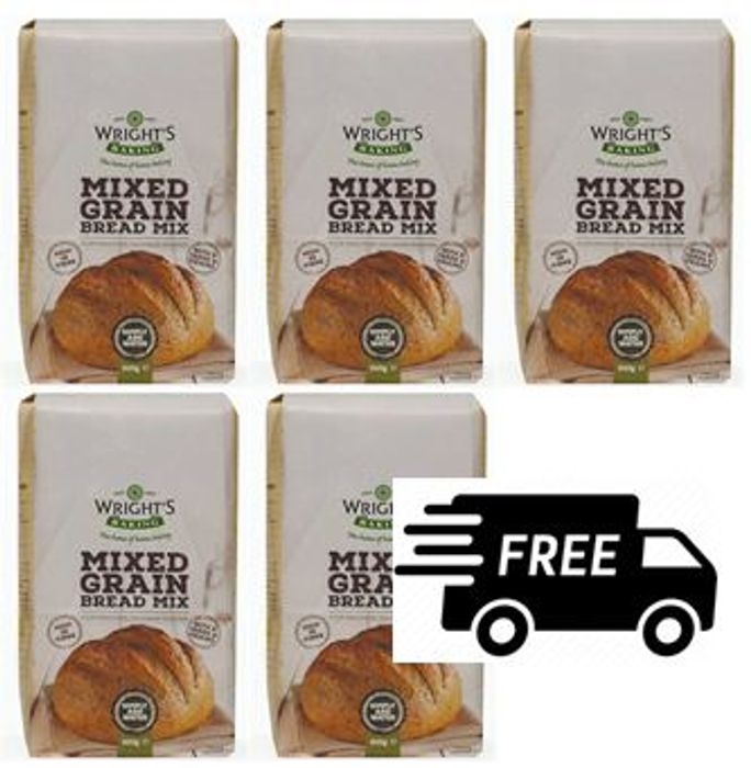 Wrights Baking Mixed Grain Bread Mix - 5 X 500g + FREE DELIVERY
