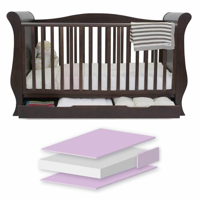BabyStyle Hollie Sleigh Cot Bed with Underbed Drawer-Rich Walnut!