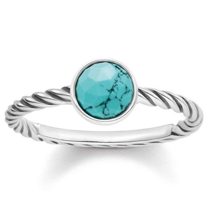Thomas Sabo Silver and Turquoise Ethnic Ring