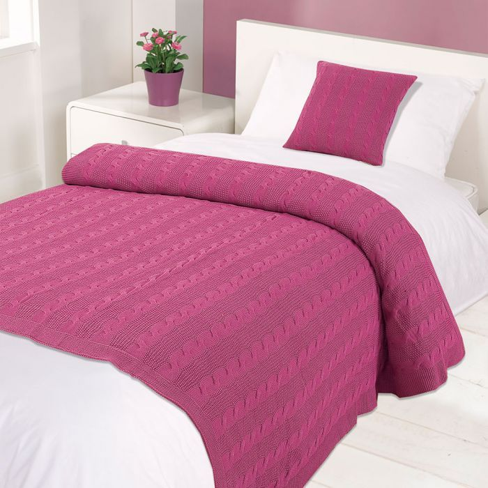 Cable Knit Cotton Throw - Pink - Save £11.5