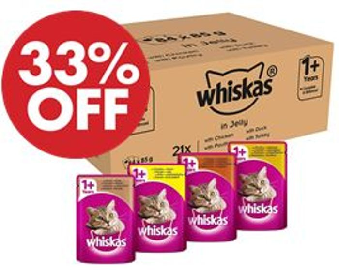 Whiskas Cat Food - Poultry Selection in Jelly (84 Pouches)