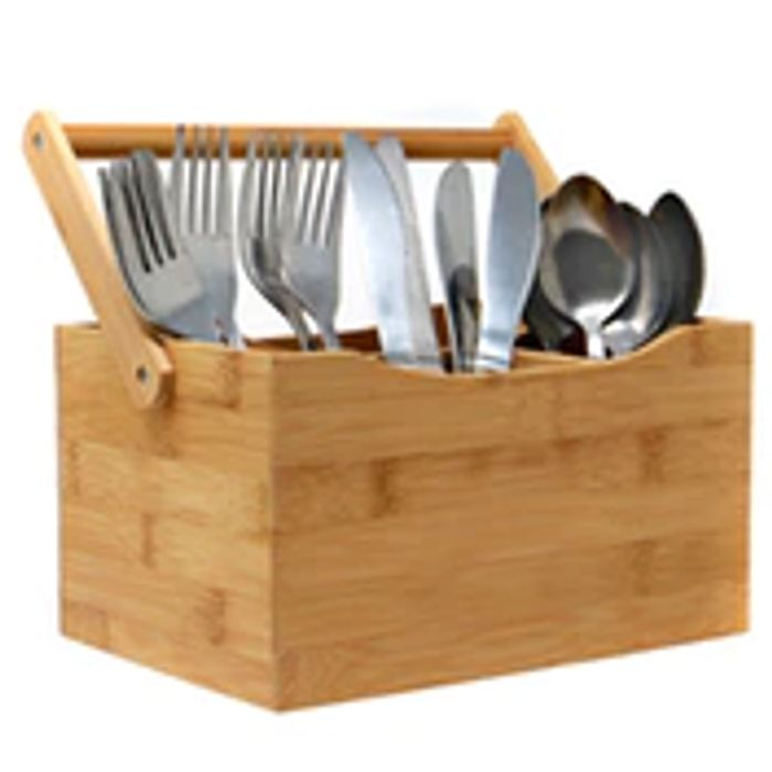 CHEAP! Bamboo Utensil Cutlery Holder + 10% off YOUR FIRST ORDER with CODE